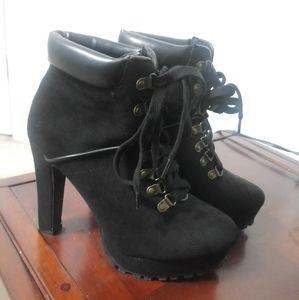 Black Heeled Booties Lace Up Moto style heels
